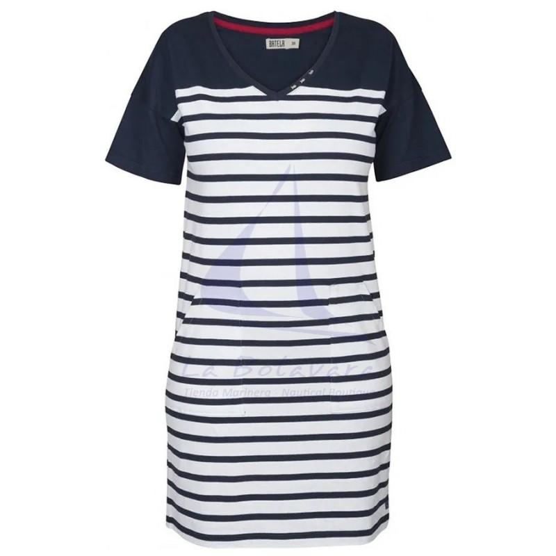 WHITE & NAVY BLUE V-NECK WOMEN  DRESS