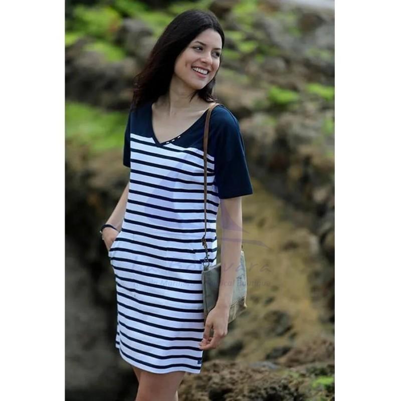 WHITE & NAVY BLUE V-NECK WOMEN  DRESS 3
