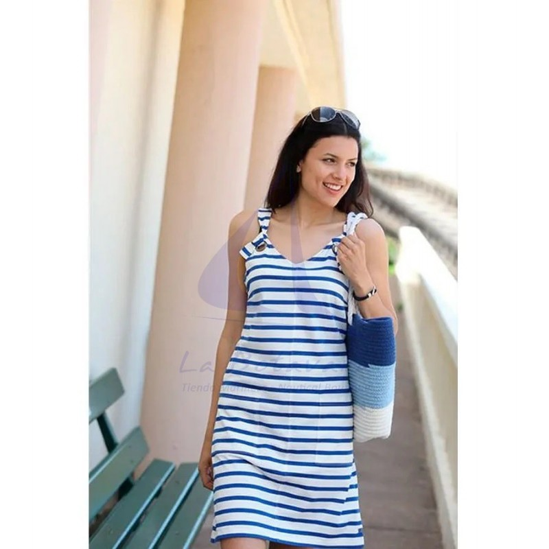WHITE AND BLUE STRIPED STRAPS DRESS 3