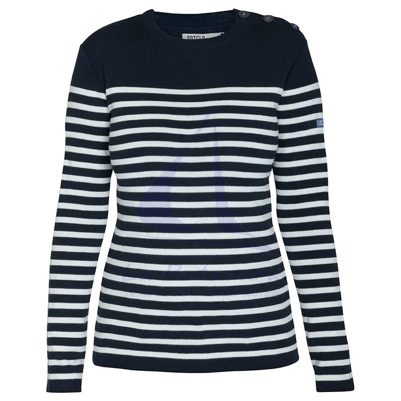 Navy blue and ecru white women's Batela sailor sweater