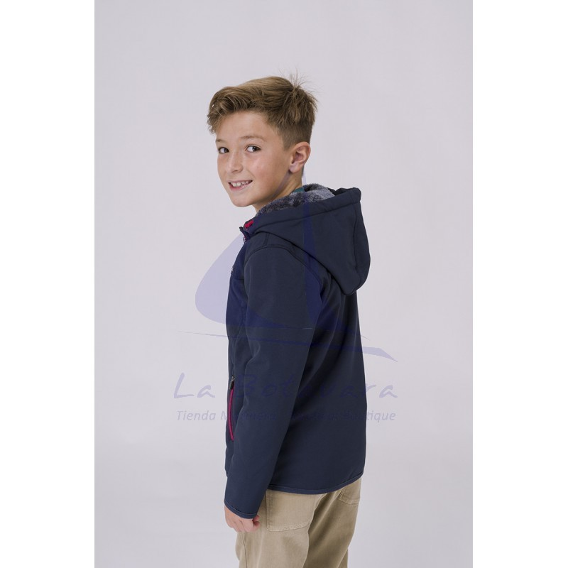 Navy blue Batela softshell for boy with sheerling 2