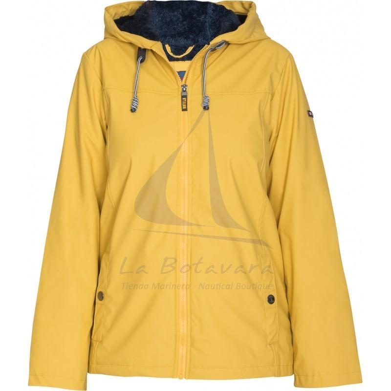 Yellow Batela winter raincoat with sheepskin lining for woman