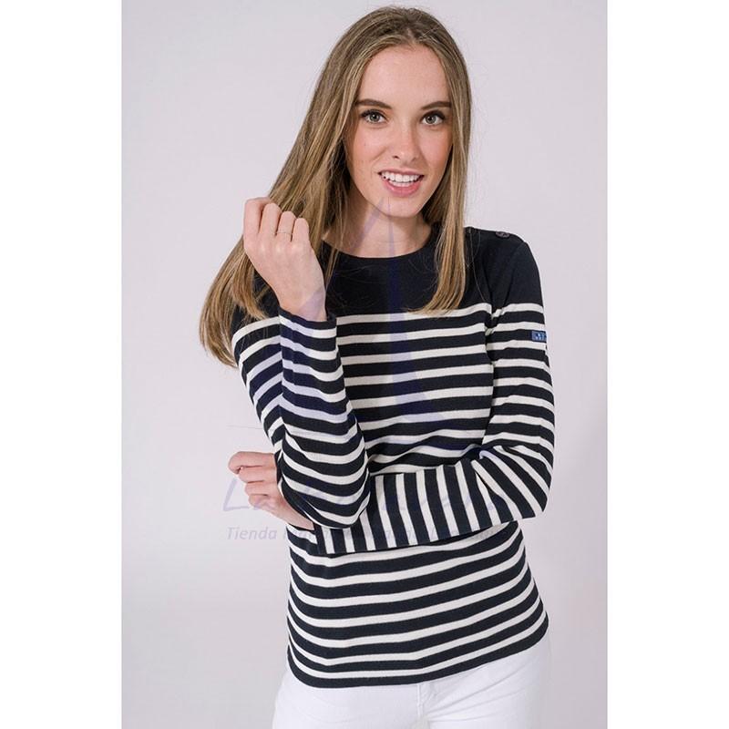 Navy blue and ecru white women's Batela sailor sweater 2