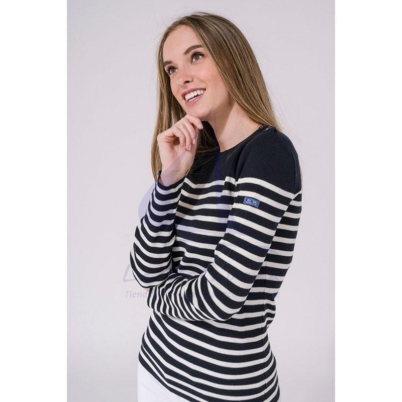 Jersey Batela marinero de mujer azul marino y crudo 3