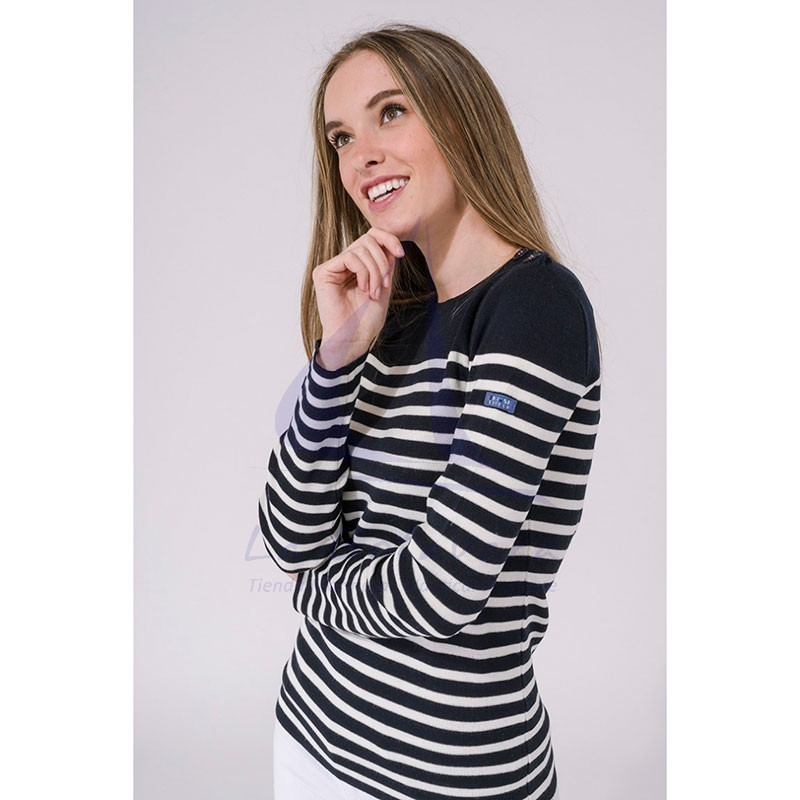 Navy blue and ecru white women's Batela sailor sweater 3