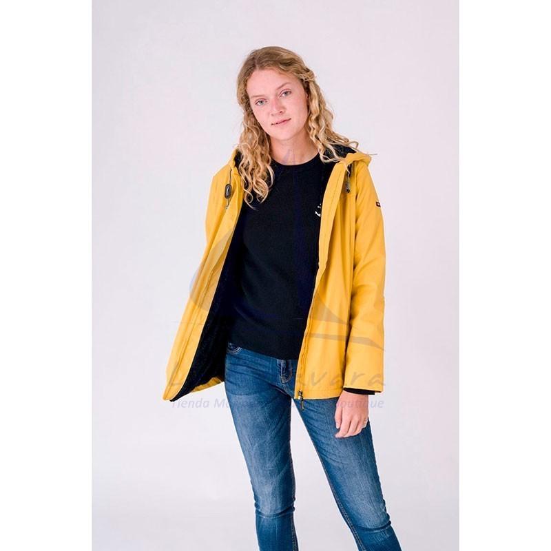 Yellow Batela winter raincoat with sheepskin lining for woman 6