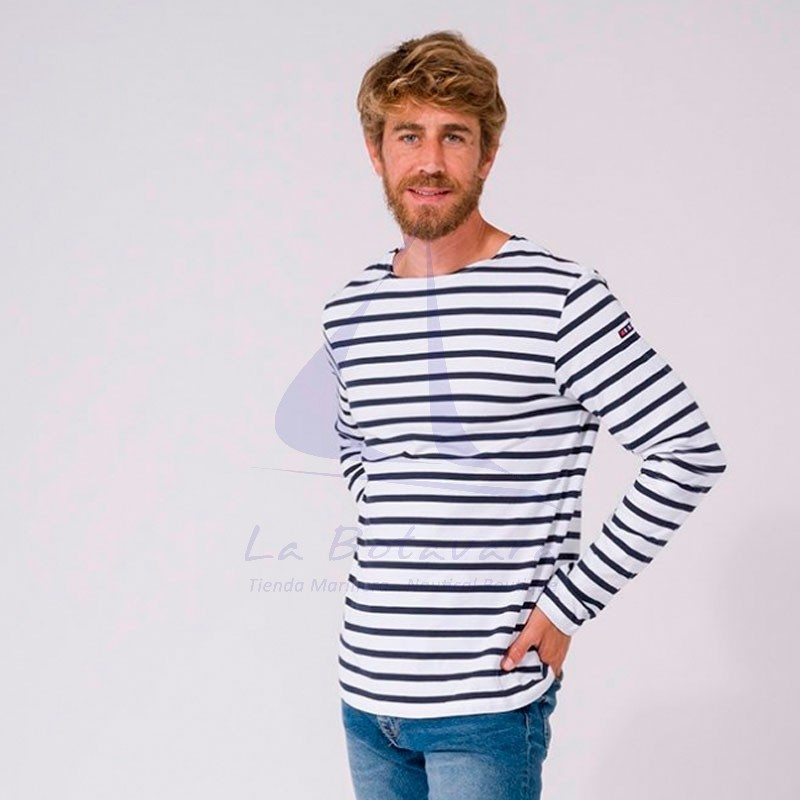 WHITE & NAVY BLUE LONG SLEEVE BATELA T-SHIRT 2104 3
