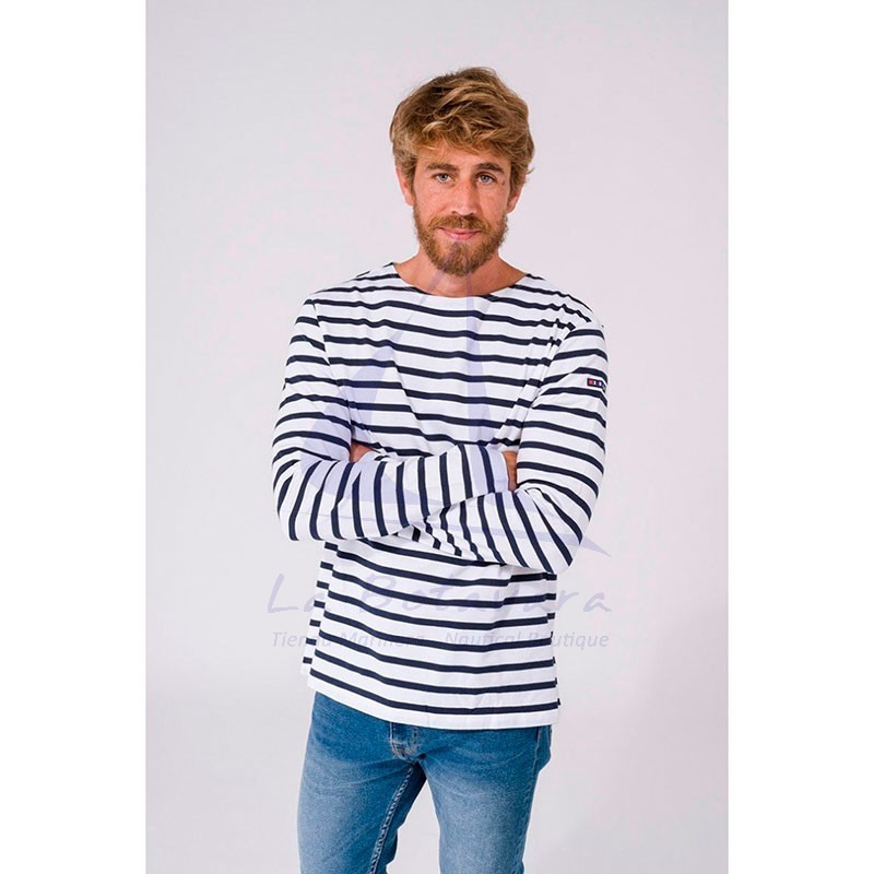WHITE & NAVY BLUE LONG SLEEVE BATELA T-SHIRT 2104 4