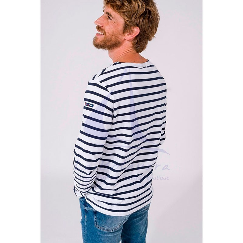 WHITE & NAVY BLUE LONG SLEEVE BATELA T-SHIRT 2104 5
