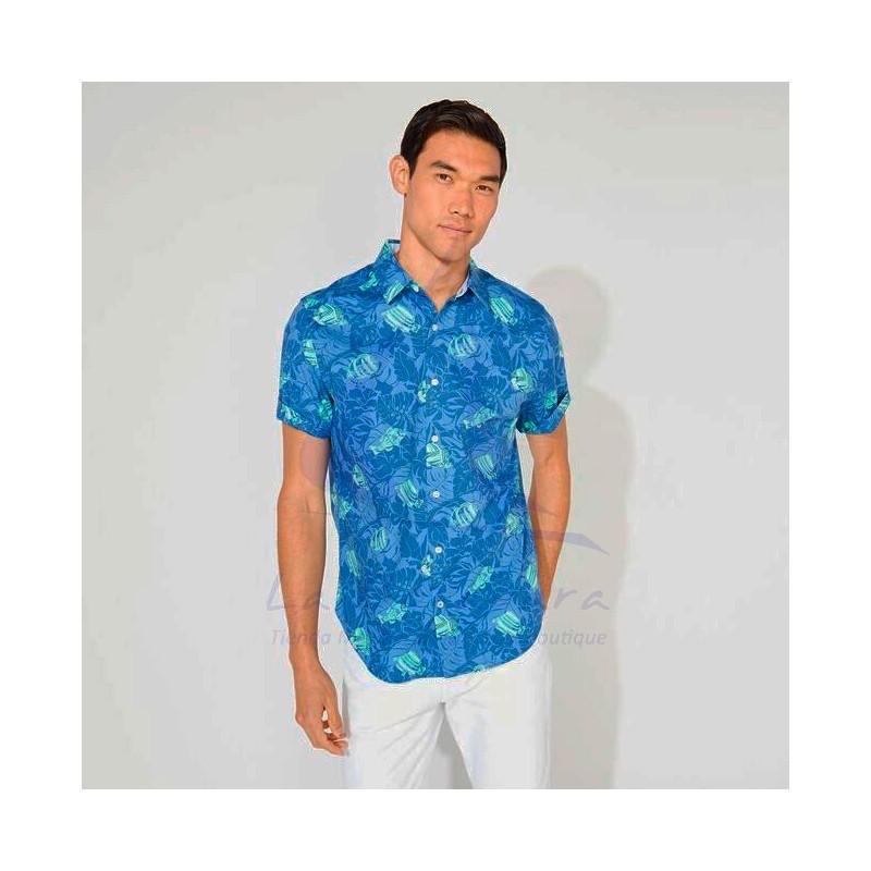 Camisa Nautica azul con peces 3