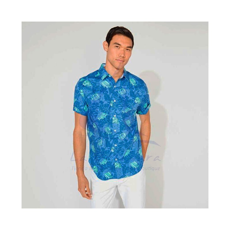 Blue Nautica shirt with fishes 3