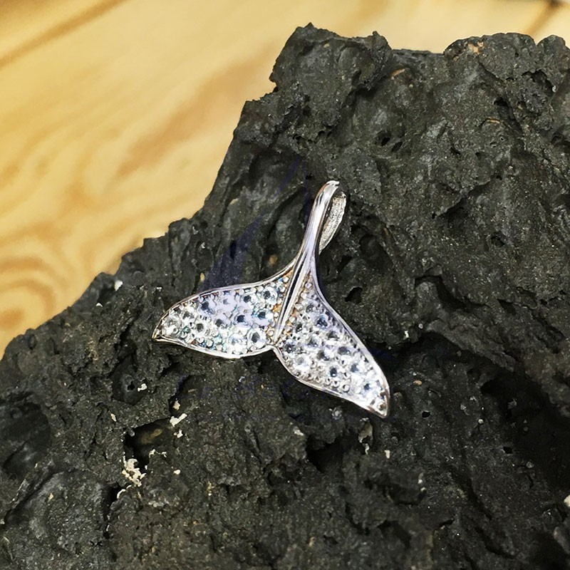 Silver whale tail pendant with zircons