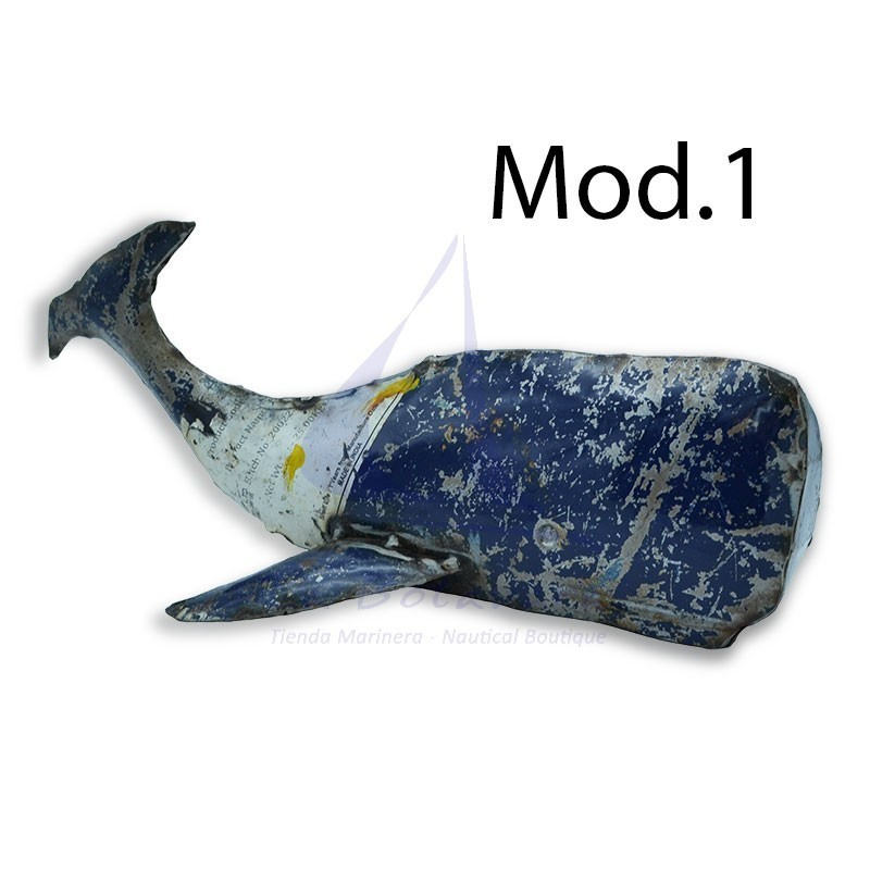 Sperm whale made from recycled drum plate