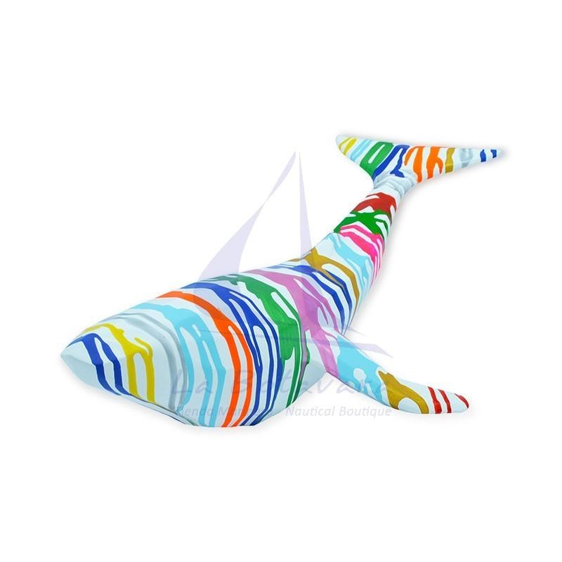 Ballena origami blanca de resina con pintura de colores 3