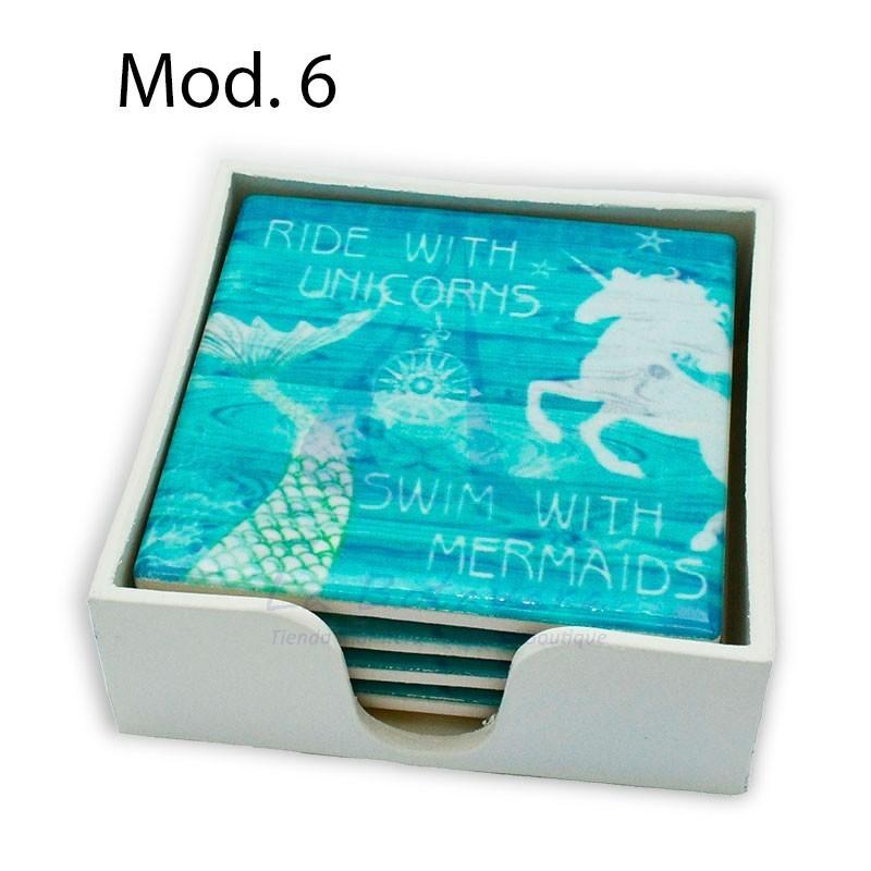 Set de 4 posavasos de cerámica con motivos marinos sirena