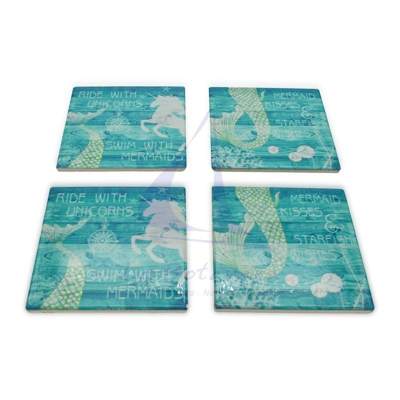 Set of 4 ceramic coasters with marine prints mermaid 2