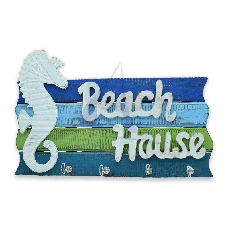 Blue & green Beach House wall hanger of natural wood