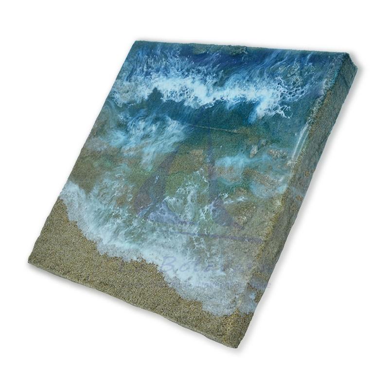 Cuadro marina de resina de 20x20cm 2