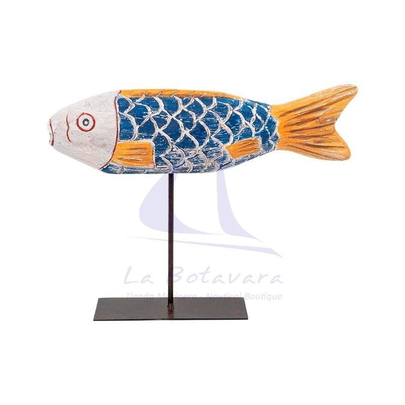Blue and yellow wooden african fish