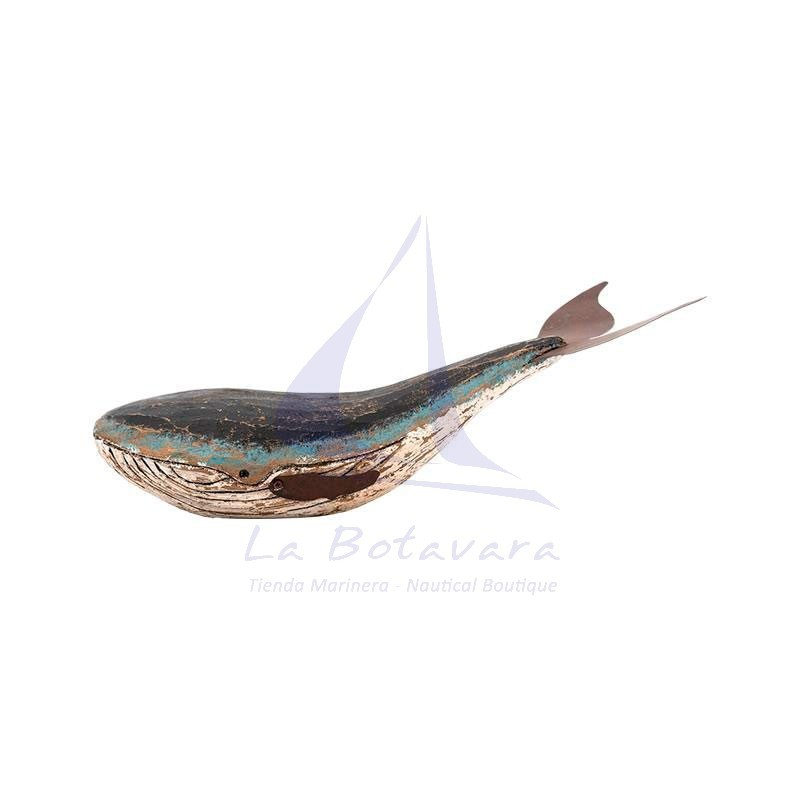 Rustic wooden and metal whale