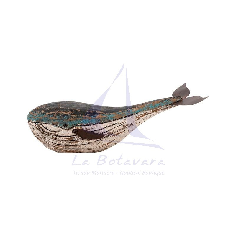 Rustic wooden and metal whale 2