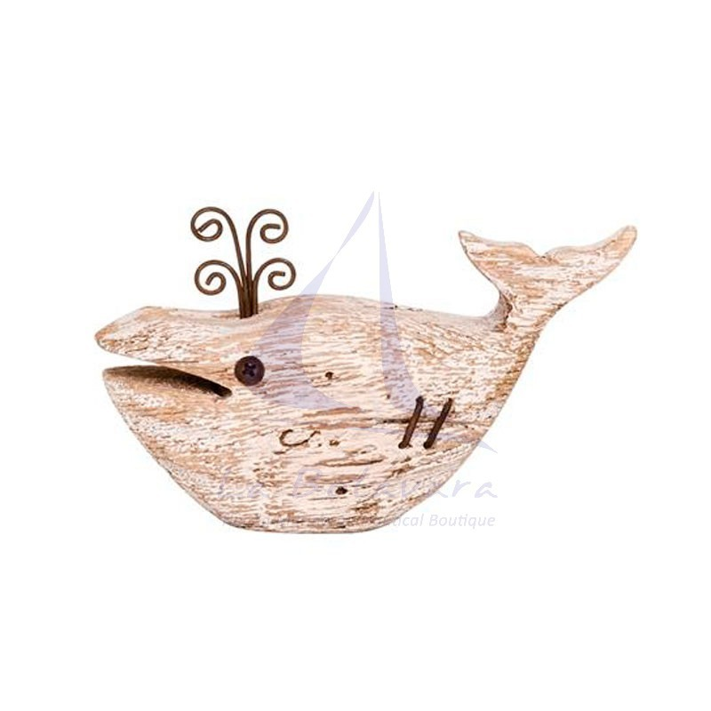 Rustic white wood whale