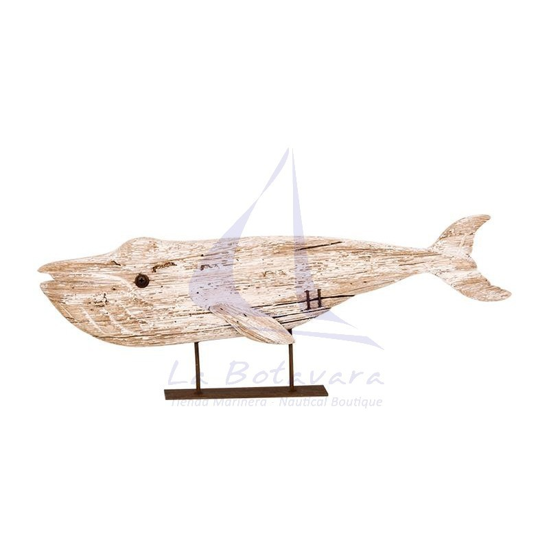 Rustic white wood whale with pedestal