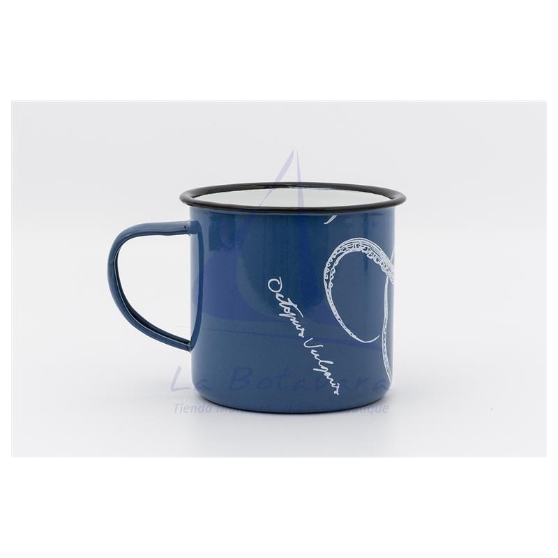 Taza de metal azul con pulpo blanco 2