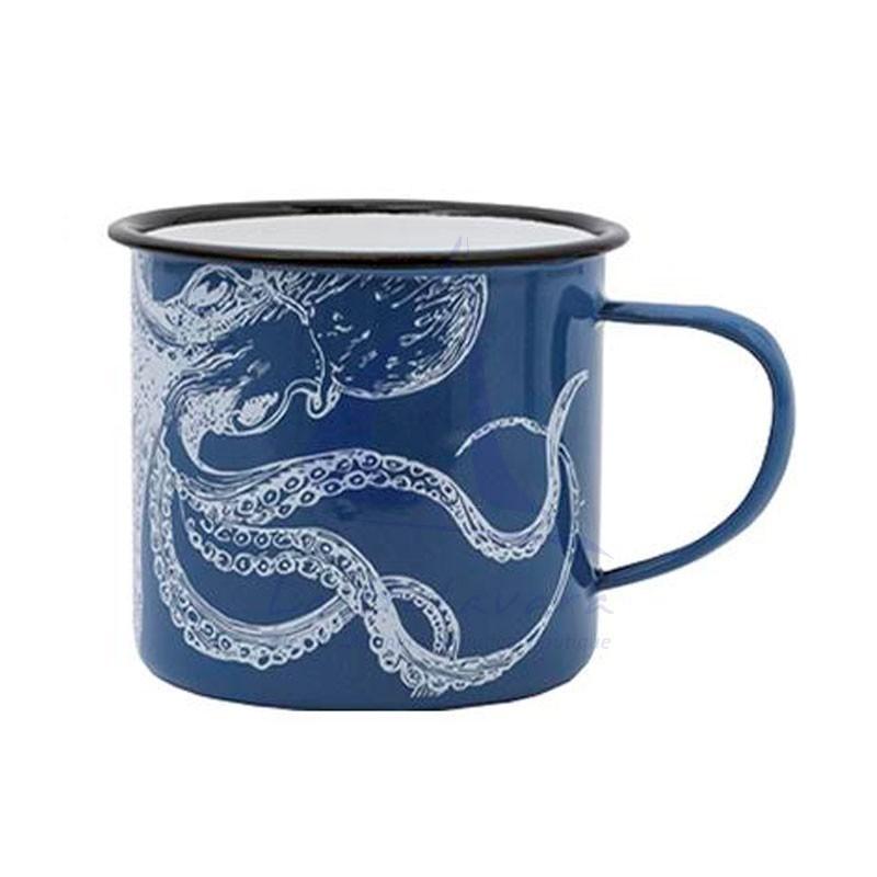 Taza de metal azul con pulpo blanco