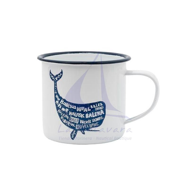 White metal mug with blue whale