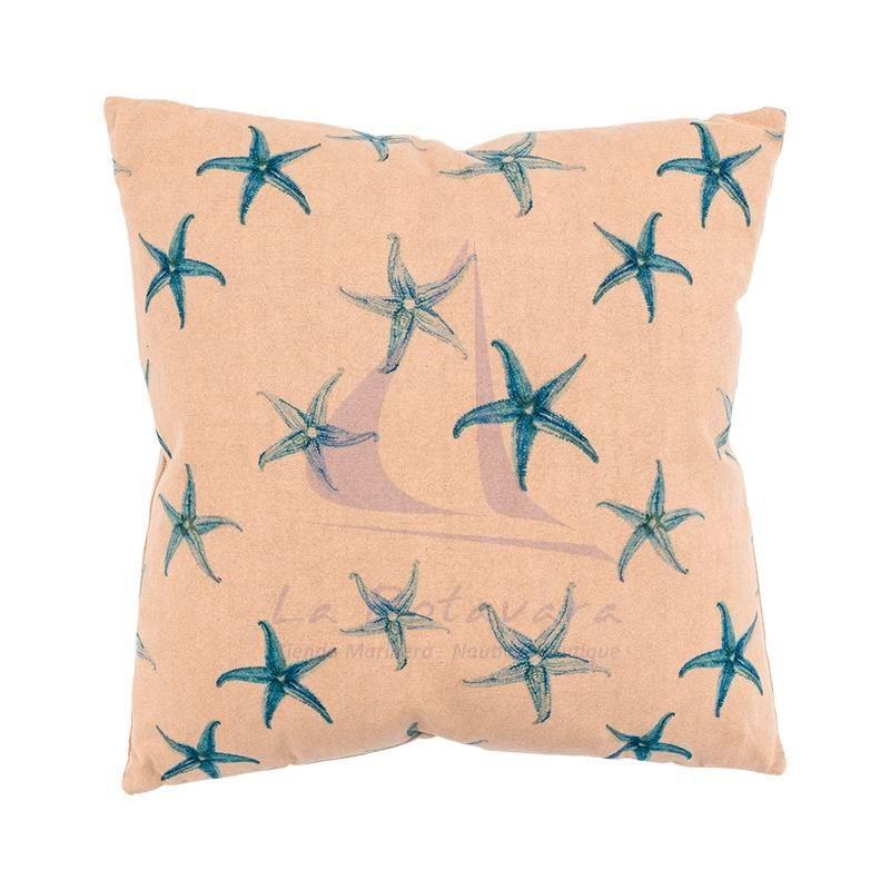 Cojín náutico beige con estrellas de mar azules