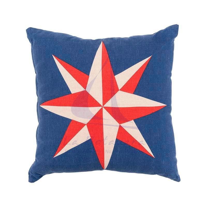 Compass rose nautical blue cushion