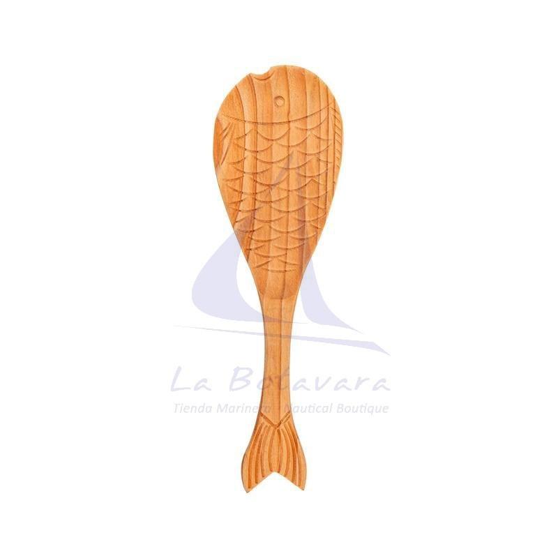 Cuchara de madera con forma de pez