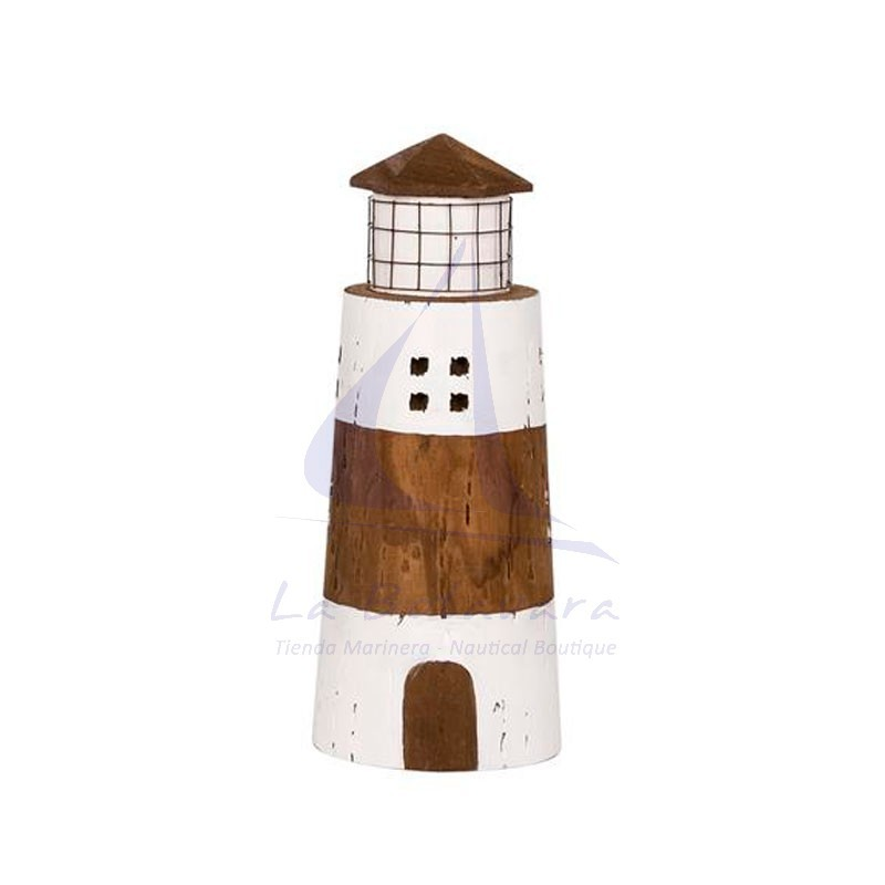 Rustic wooden lighthouse with white stripes