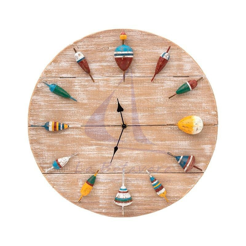 Wooden wall clock with fishing corks