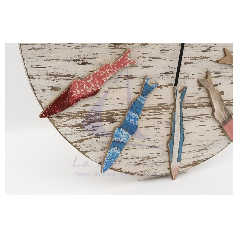 Wooden wall clock with colorful fishes 3