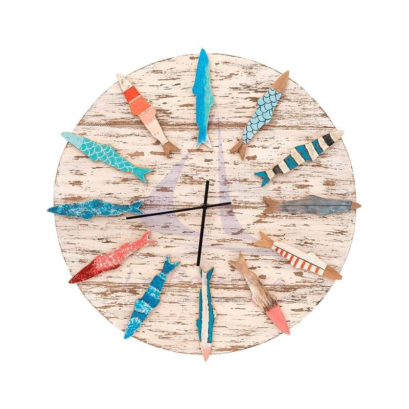 Wooden wall clock with colorful fishes