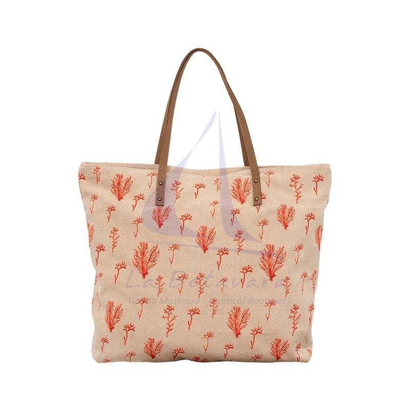 Beige bag with coral print