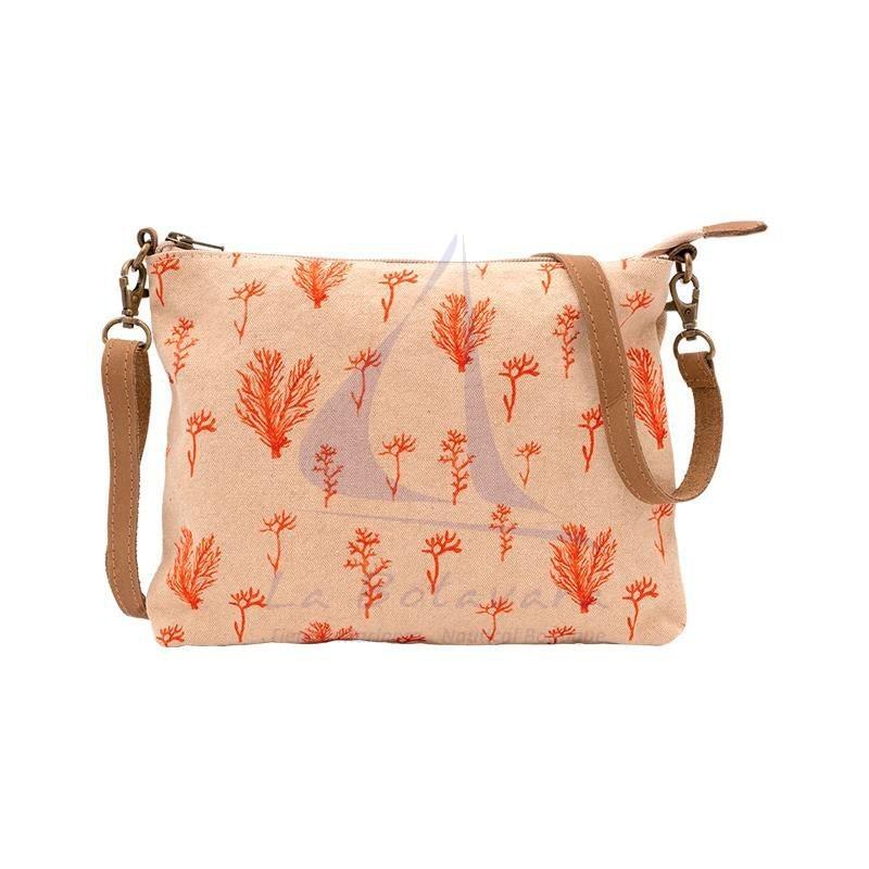 Beige shoulder bag with coral print