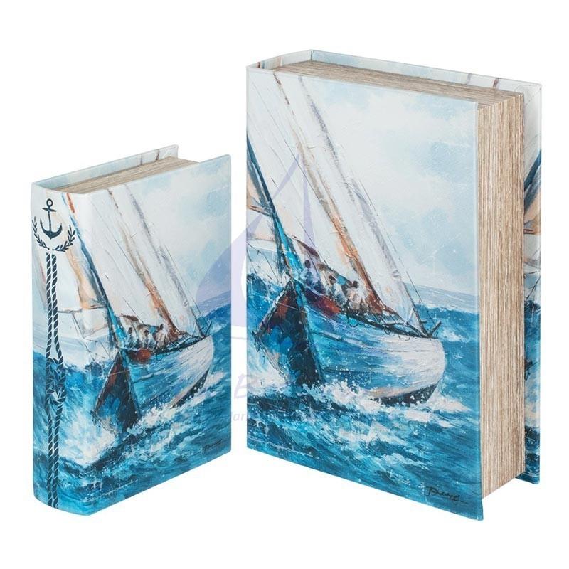 Caja libro con diseño de velero