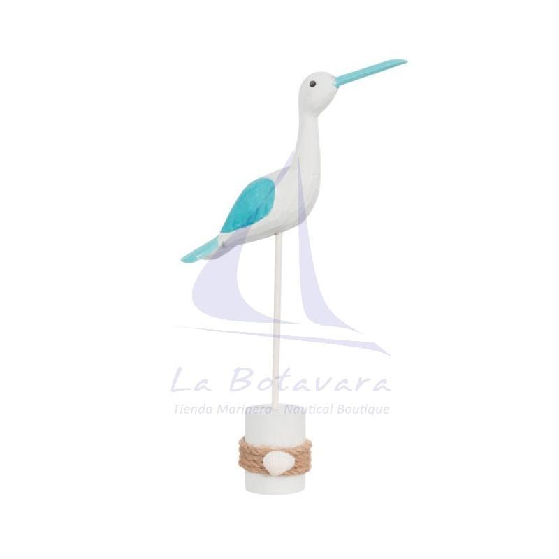 Gaviota con pedestal blanca y azul.