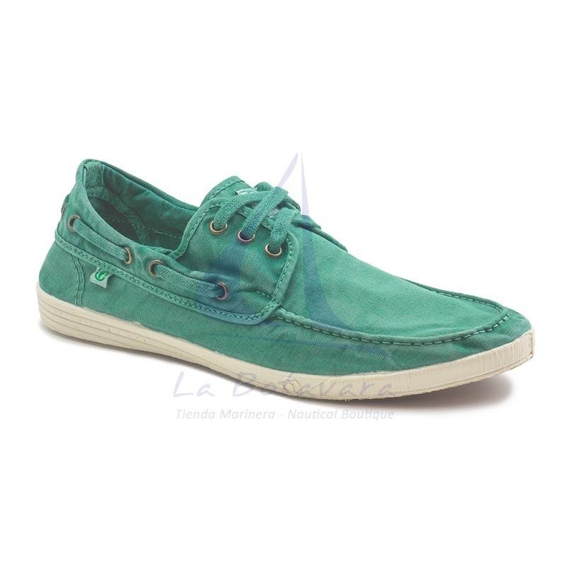 Basil green Natural World boat shoe