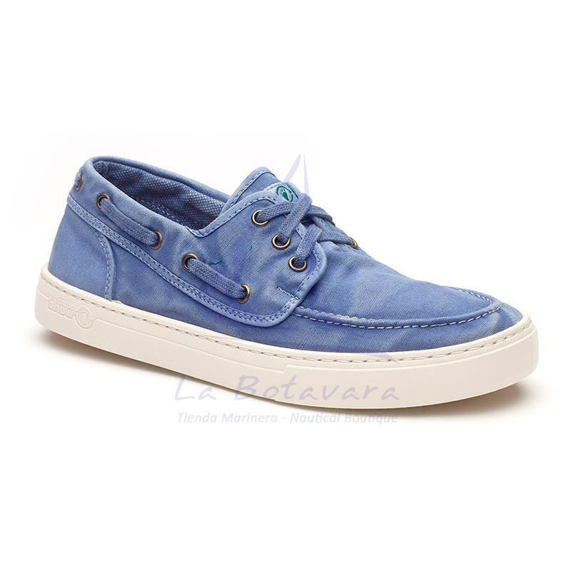 Sky blue Natural World boat shoe with white sport sole