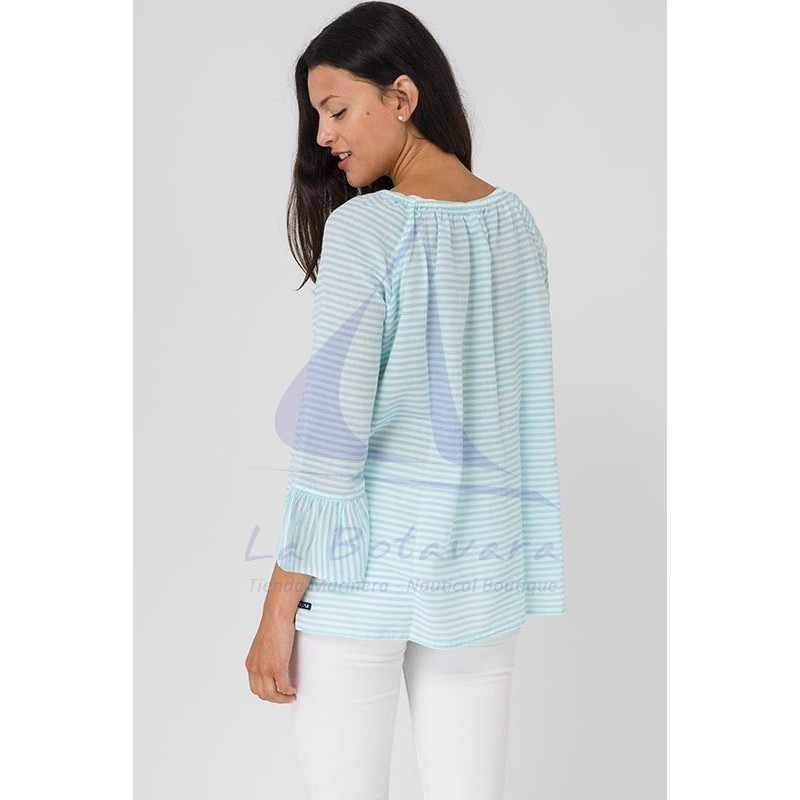 Blusa Batela de rayas azul seaglass y blanco 4