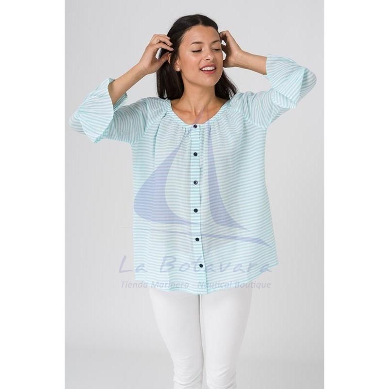 Blusa Batela de rayas azul seaglass y blanco 3