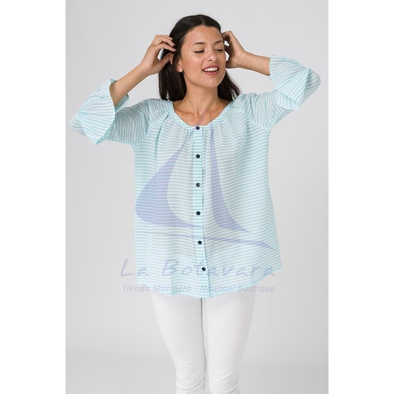 Batela blouse with seaglass blue and white stripes 2