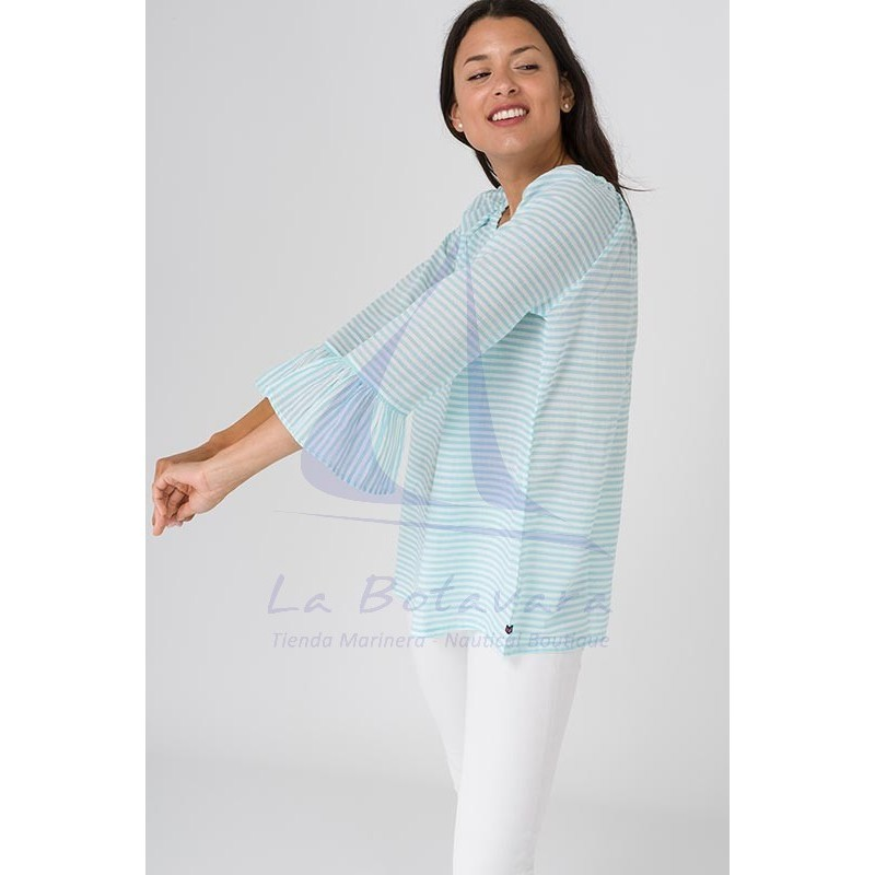 Batela blouse with seaglass blue and white stripes 4