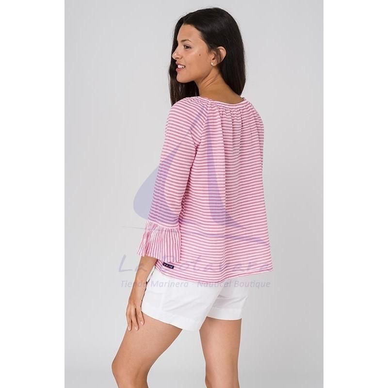 Blusa Batela de rayas rosas y blancas 2