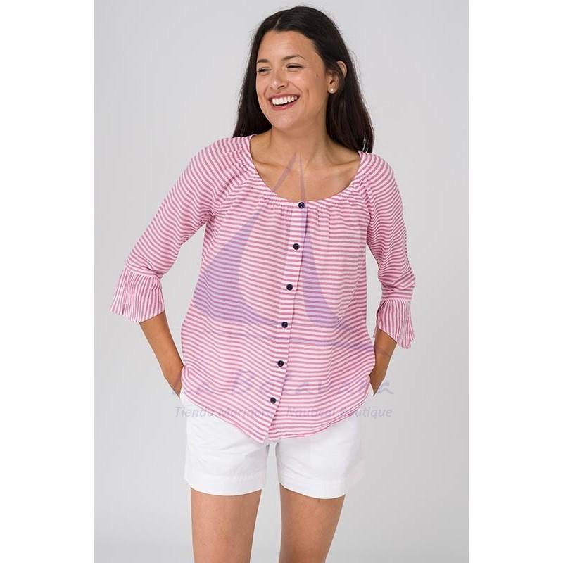 Blusa Batela de rayas rosas y blancas