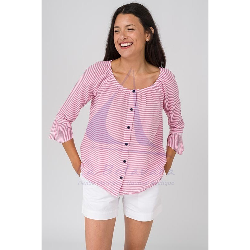 Batela blouse with pink and white stripes